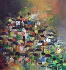 Abstract Acrylic Art Painting title 'My City' by artist M Singh