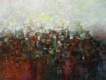 Abstract Acrylic Art Painting title The Village in Dream by artist M Singh