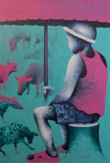 Figurative Acrylic Art Painting title 'Athkheliyan 78' by artist Lakhan Singh Jat