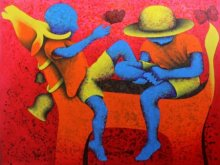 Figurative Acrylic Art Painting title 'Athkheliyan 59' by artist Lakhan Singh Jat