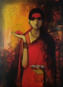 Figurative Acrylic Art Painting title 'Indian Woman' by artist Sachin Sagare