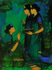 Sachin Sagare | Acrylic Painting title Three Women on Canvas | Artist Sachin Sagare Gallery | ArtZolo.com