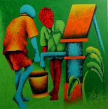 Figurative Acrylic Art Painting title 'Athkheliyan 55' by artist Lakhan Singh Jat