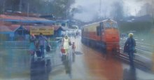Bijay Biswaal | Acrylic Painting title Wet Platform Himanchal on Canvas