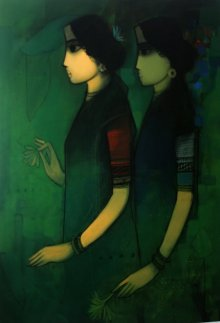 Sachin Sagare | Acrylic Painting title Women in Dark on Canvas | Artist Sachin Sagare Gallery | ArtZolo.com