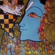 Religious Acrylic Art Painting title 'Krishna 2' by artist Ramesh Gorjala
