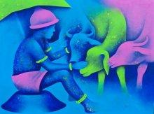 Figurative Acrylic Art Painting title 'Athkheliyan 58' by artist Lakhan Singh Jat