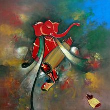 M Singh | Acrylic Painting title Ganesha playing dholak on Canvas | Artist M Singh Gallery | ArtZolo.com