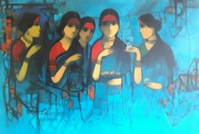 Figurative Acrylic Art Painting title 'Conversation' by artist Sachin Sagare