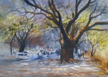 Cityscape Watercolor Art Painting title Trees by artist Bijay Biswaal