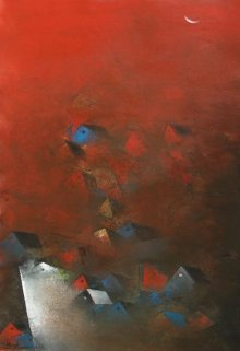 Abstract Acrylic Art Painting title 'The Villages' by artist M Singh
