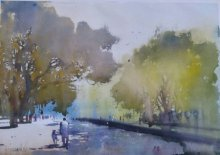 Cityscape Watercolor Art Painting title 'Morning Walk' by artist Bijay Biswaal