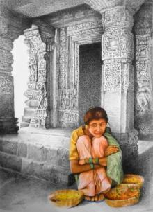 Realistic Mixed-media Art Painting title 'Flower Girl' by artist Milind Varangaonkar
