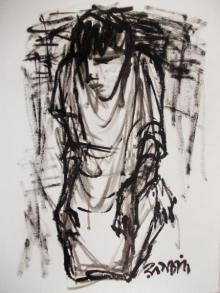 Pen-ink Paintings | Drawing title Pain 2 on Paper | Artist Rupchand Kundu