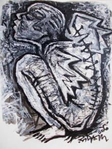 Figurative Pen-ink Art Drawing title 'Pain 3' by artist Rupchand Kundu