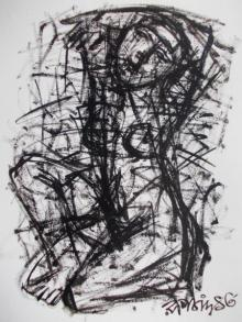 Nude Pen-ink Art Drawing title 'Pain 5' by artist Rupchand Kundu