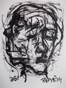 Figurative Pen-ink Art Drawing title 'Pain 7' by artist Rupchand Kundu