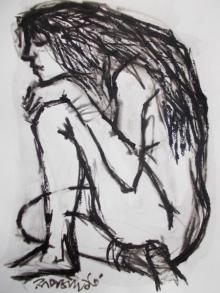 Pen-ink Paintings | Drawing title Pain 8 on Paper | Artist Rupchand Kundu