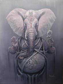 Bijay Biswaal | Acrylic Painting title Gajanan - II on Canvas