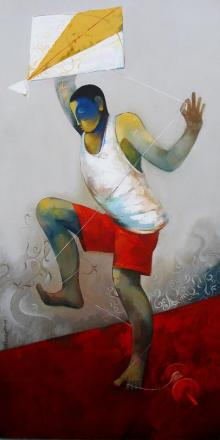 Figurative Acrylic Art Painting title 'Kite' by artist Sachin Akalekar