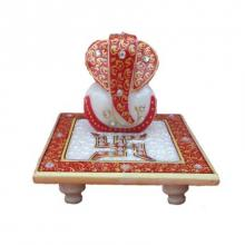 Ecraft India | Painted Marble Ganesha With Saath Craft Craft by artist Ecraft India | Indian Handicraft | ArtZolo.com