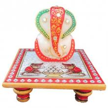 Lord Ganesha On Chowki With Rats | Craft by artist Ecraft India | Marble