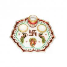 Decorative Pooja Thali | Craft by artist Ecraft India | Marble