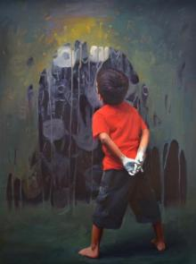 Pramod Kurlekar Paintings | Oil Painting - Rising Hands by artist Pramod Kurlekar | ArtZolo.com