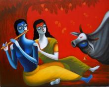 Figurative Acrylic Art Painting title Romantic Couple by artist Santosh Chattopadhyay