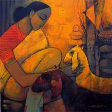 Rural Life 3 | Painting by artist Sachin Akalekar | acrylic | Canvas