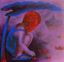 Figurative Acrylic Art Painting title 'Athkheliyan 62' by artist Lakhan Singh Jat