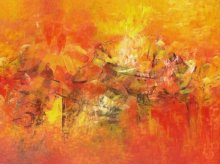 Abstract Acrylic Art Painting title 'Distant View' by artist M Singh
