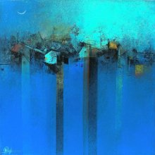 M Singh | Acrylic Painting title Village In Blue on Canvas | Artist M Singh Gallery | ArtZolo.com