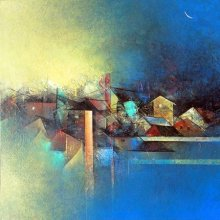 Abstract Acrylic Art Painting title My Village by artist M Singh