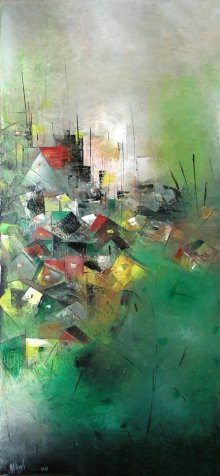 Abstract Acrylic Art Painting title 'Distant View 4' by artist M Singh