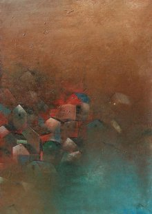 Abstract Acrylic Art Painting title 'Village' by artist M Singh