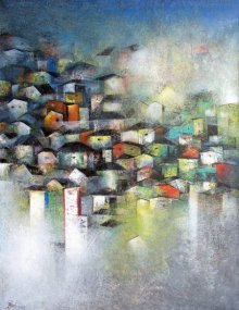 Village Of Your And My Dreams | Painting by artist M Singh | acrylic | Canvas