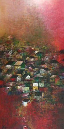 Abstract Acrylic Art Painting title 'Village Of My Dreams 11' by artist M Singh