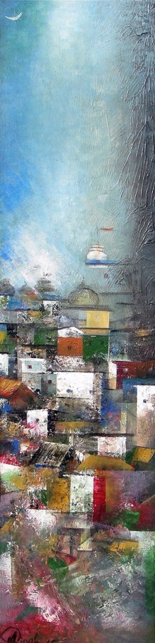 Abstract Acrylic Art Painting title 'Banaras Street' by artist M Singh