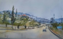 Cityscape Watercolor Art Painting title 'Antalya Turkey' by artist Bijay Biswaal
