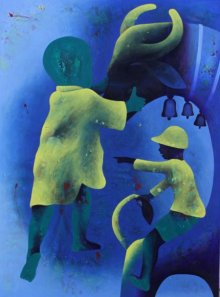 Lakhan Singh Jat | Acrylic Painting title Athkheliyan 74 on Canvas | Artist Lakhan Singh Jat Gallery | ArtZolo.com