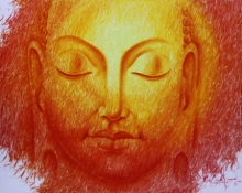 Religious Oil Art Painting title The Divine Light by artist Prince Chand