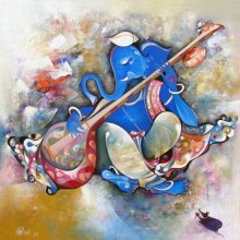 Musical Ganesha Acrylic Painting by M Singh