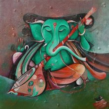 M Singh | Acrylic Painting title Sitting Ganesha Playing Sitar on Canvas | Artist M Singh Gallery | ArtZolo.com