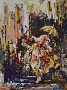 Religious Acrylic Art Painting title 'Dancing Ganesha' by artist Durshit Bhaskar