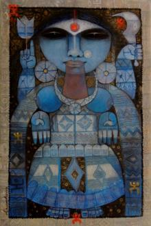Arun Samadder | Mixed-media Painting title Goddess Kali on Canvas | Artist Arun Samadder Gallery | ArtZolo.com