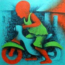 Figurative Acrylic Art Painting title 'Athkheliyan 22' by artist Lakhan Singh Jat