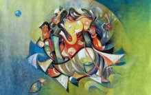 Religious Acrylic Art Painting title 'Blessing Ganesha' by artist M Singh