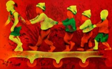 Figurative Acrylic Art Painting title 'Athkheliyan 81' by artist Lakhan Singh Jat