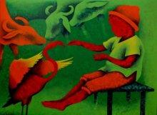 Figurative Acrylic Art Painting title 'Athkheliyan 82' by artist Lakhan Singh Jat